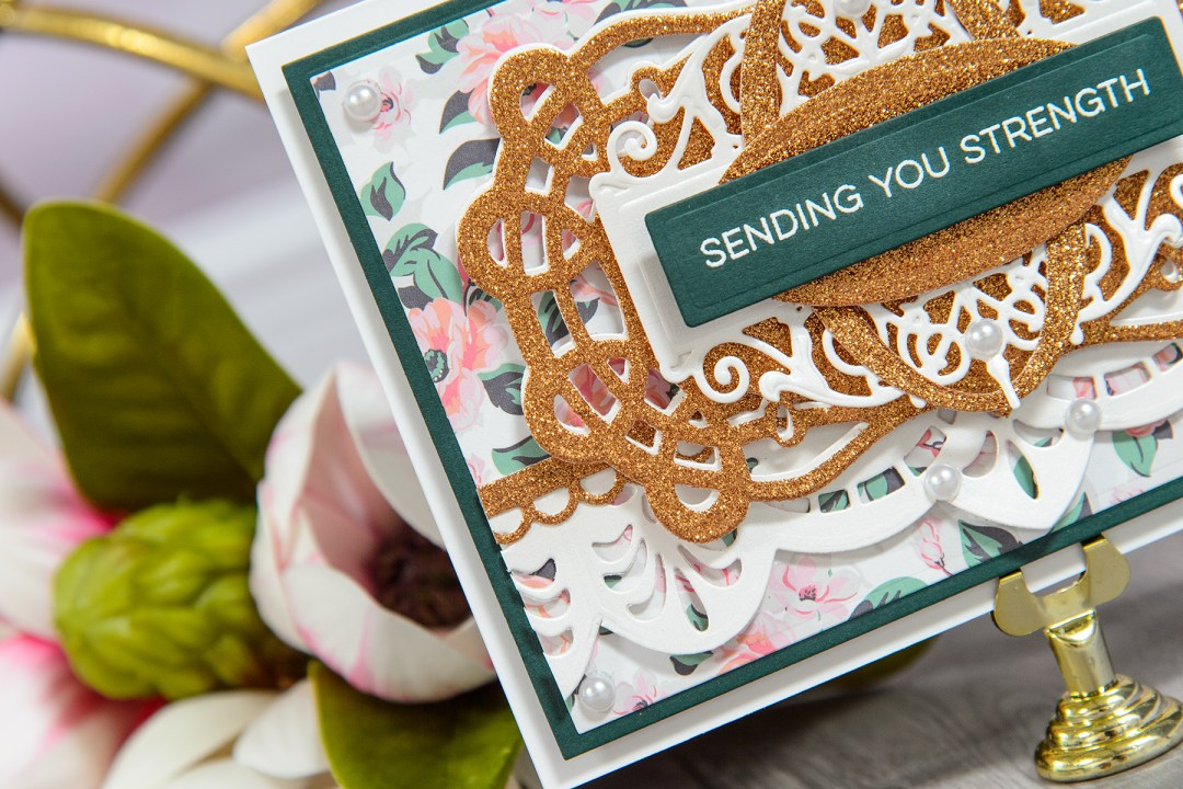 One Card Design 2 Ways - Sending You Strength Card by Yana Smakula for Spellbinders. Using: S4-732 Curled Grace Oval, S4-705 Graceful Brackets, SDS-055 Beautiful Dreamer Stamp And Die Set, S6-001 5x7 Matting Basics A, S6-002 5x7 Matting Basics B Dies