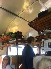 L'interno del treno storico del Sabino Express