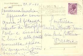 Cartolina e messaggio della contessa Martinoni