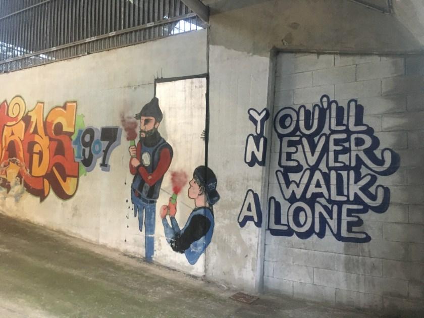 Murales all'interno dello Stadio Atleti d'Italia prima della demolizione della Curva Nord