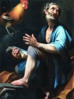 Gallo vicino ad un uomo in un dipinto