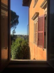 Il parco di Villa Astori visto da una finestra