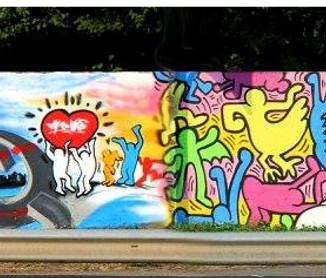 Hering al Rondò delle Valli reinterpretato da uno street artist