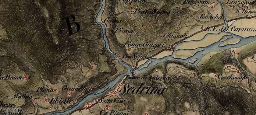 Mappe ottocentesca con Ponte del Cappello chiamato Ponte del Negro