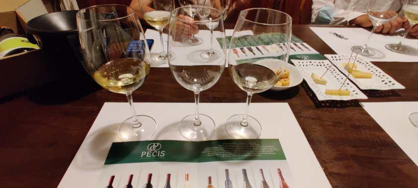 calici per la degustazione dei Vini Pecis