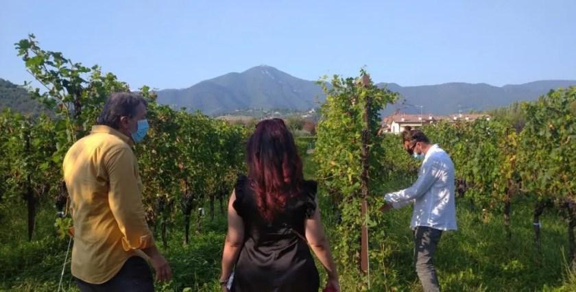 Raffaella a spasso nelle vigne con Angelo Pecis e il figlio Lorenzo