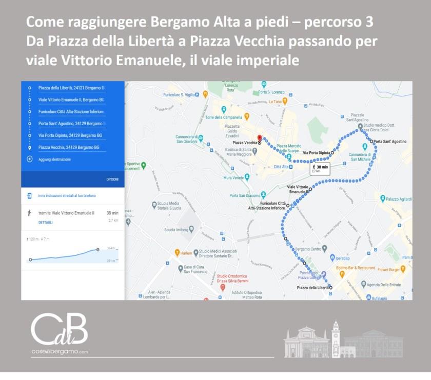 Come raggiungere Bergamo Alta a piedi - percorso 3 e mappa