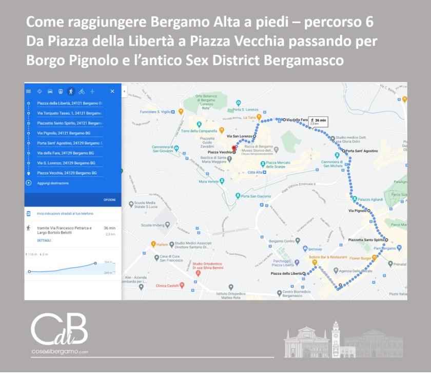 Come raggiungere Bergamo Alta a piedi - percorso 6 e mappa
