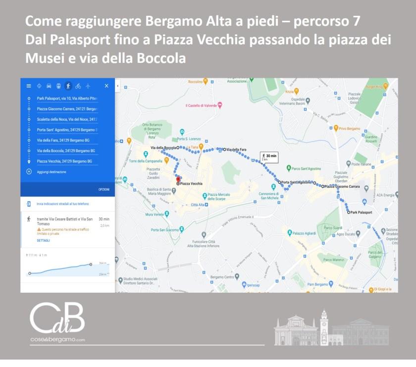 Come raggiungere Bergamo Alta a piedi - percorso 7 e mappa
