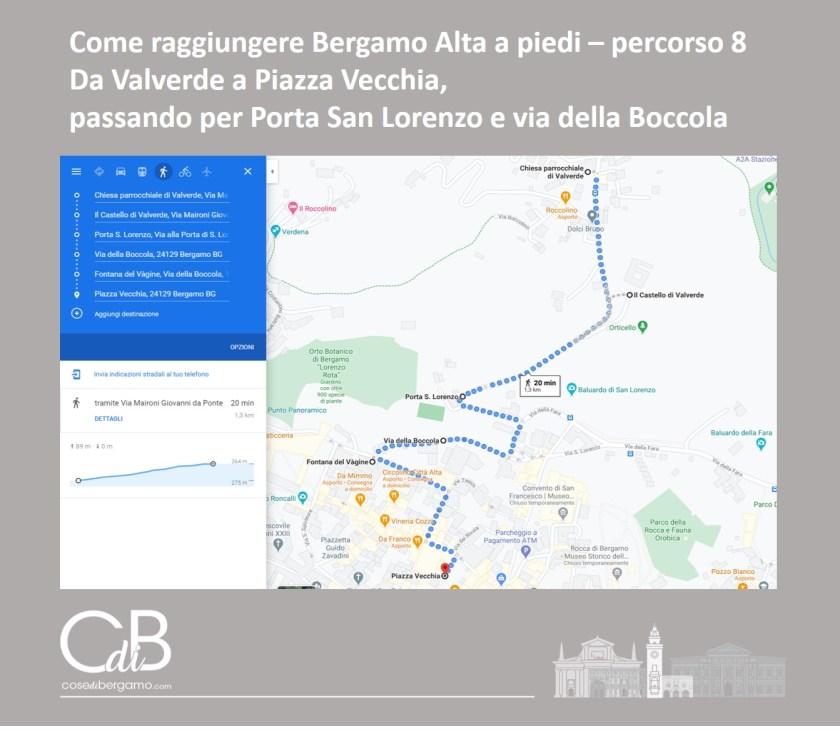 Come raggiungere Bergamo Alta a piedi - percorso 8 e mappa