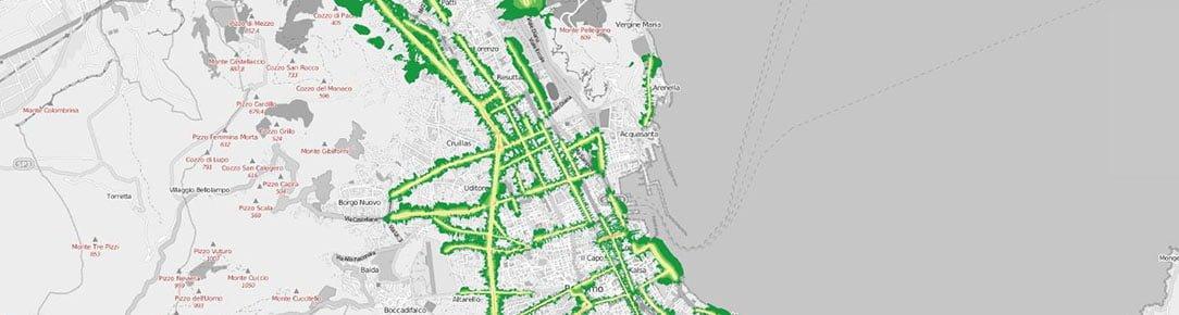 Mappa inquinamento acustico notturno veicolare Palermo