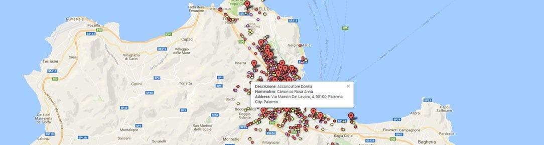 Geocoding acconciatori ed estetisti Palermo