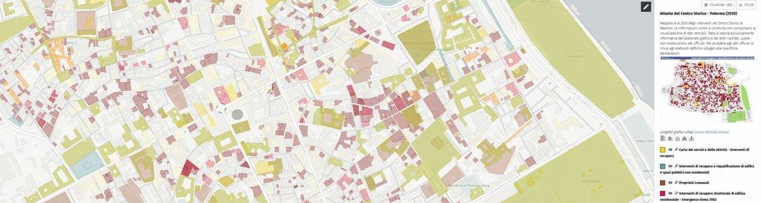 Mappatura  interventi nel Centro Storico di Palermo al 2010