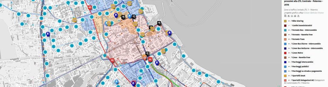 Mappa ZTL e servizi di mobilità urbana Palermo