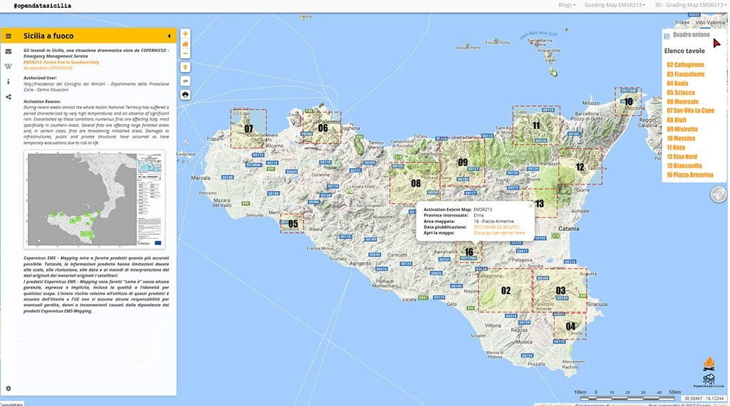 COPERNICUS - Emergency Management - EMSR213: Forest Fire in Southern Italy - Sicilia