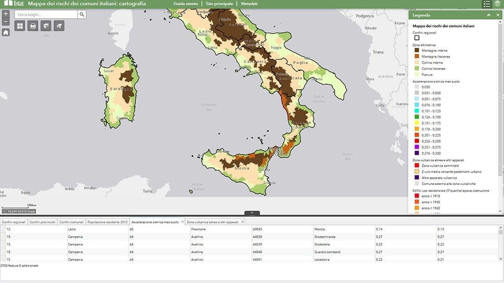 Mappa dei rischi dei comuni italiani: cartografia