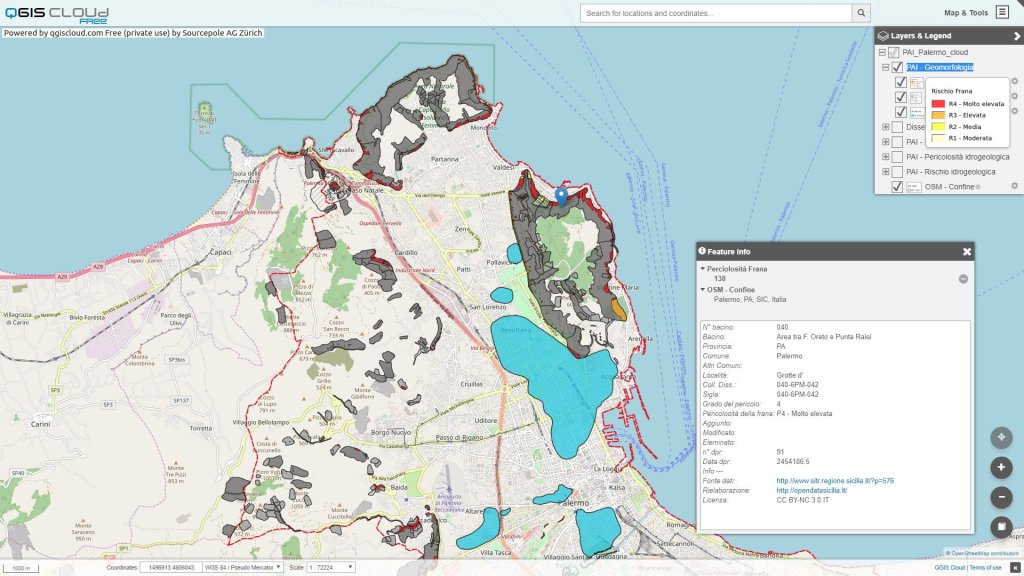 Palermo - mappa delle pericolosità e rischio geomorfologico  - Piano per l'Assetto Idrogeologico (P.A.I.)