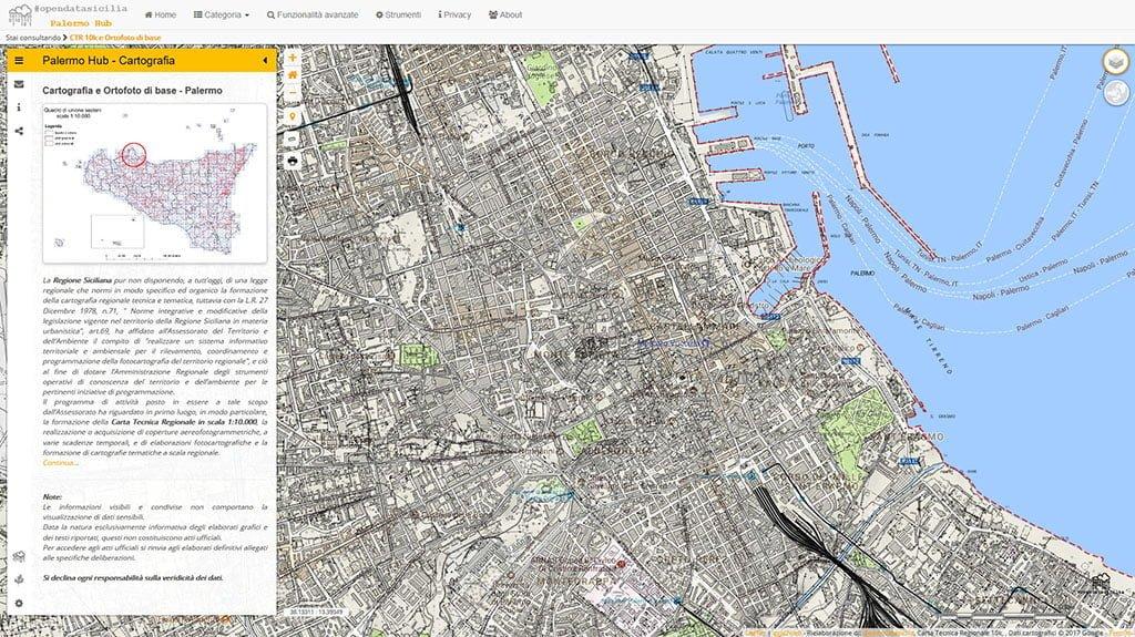 Cartografia CTR 10k e Ortofoto di base - Palermo Hub
