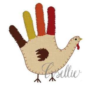 Handprint turkey embroidery design, Handprint turkey, Fall, Vintage Thanksgiving, Vintage stitch embroidery design, Applique, Machine embroidery design, Blanket stitch, Beanstitch, Vintage