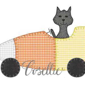 Candy corn embroidery design, Cat, Candy corn car, Fall, Thanksgiving, Vintage Halloween, Vintage stitch embroidery design, Applique, Machine embroidery design, Blanket stitch, Beanstitch, Vintage