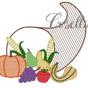 Cornucopia embroidery design, Thanksgiving, Vintage Thanksgiving, Vintage stitch embroidery design, Applique, Machine embroidery design, Blanket stitch, Beanstitch, Vintage