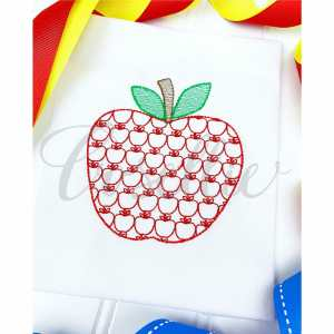 Apple motif embroidery design, Bow, Apple, Books, Crayons, Vintage crayons, Back to school, Vintage stitch embroidery design, Applique, Machine embroidery design, Blanket stitch, Beanstitch, Vintage, Classic