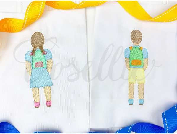 Boy with backpack embroidery design, Boy, Backpack, Pencils, Girl, Crayons, Vintage crayons, Back to school, Vintage stitch embroidery design, Applique, Machine embroidery design, Blanket stitch, Beanstitch, Vintage, Classic, Girl with backpack embroidery design, Boy, Backpack, Pencils, Girl, Crayons, Vintage crayons, Back to school, Vintage stitch embroidery design, Applique, Machine embroidery design, Blanket stitch, Beanstitch, Vintage, Classic