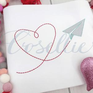Valentines paper airplane embroidery design, Valentines hot airplane, Vintage valentines, Plane, Hearts, Airplane, Boy, Vintage stitch embroidery design, Applique, Machine embroidery design, Blanket stitch, Beanstitch, Vintage