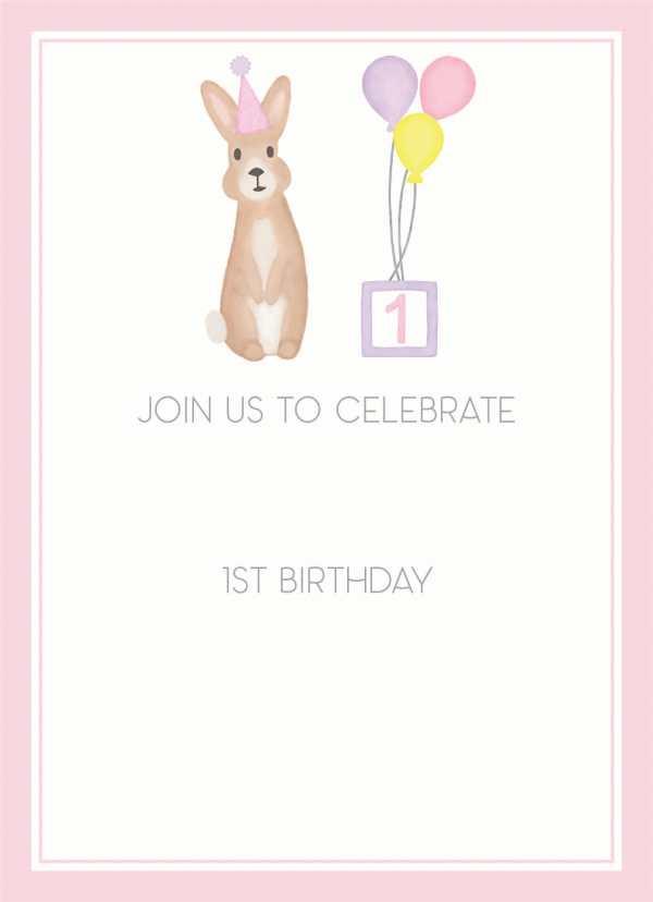Birthday bunny pink invitation, Girl birthday, First birthday, second birthday, third birthday, fourth birthday, fifth birthday, Birthday invitation, Bunny invitation, Editable invitation, Print from home invitation, DIY invitation, Invitation template