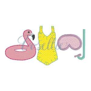 Girl pool Trio embroidery design, Girl summer embroidery design, swimsuit, snorkel, swimming, pool, beach, Spring embroidery design, Vintage stitch embroidery design, Applique, Machine embroidery design, Blanket stitch, Beanstitch, Vintage