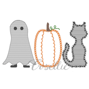 Halloween outline embroidery design, Cat, Pumpkin, Ghost, Vintage Halloween, Vintage stitch embroidery design, Applique, Machine embroidery design, Blanket stitch, Beanstitch, Vintage