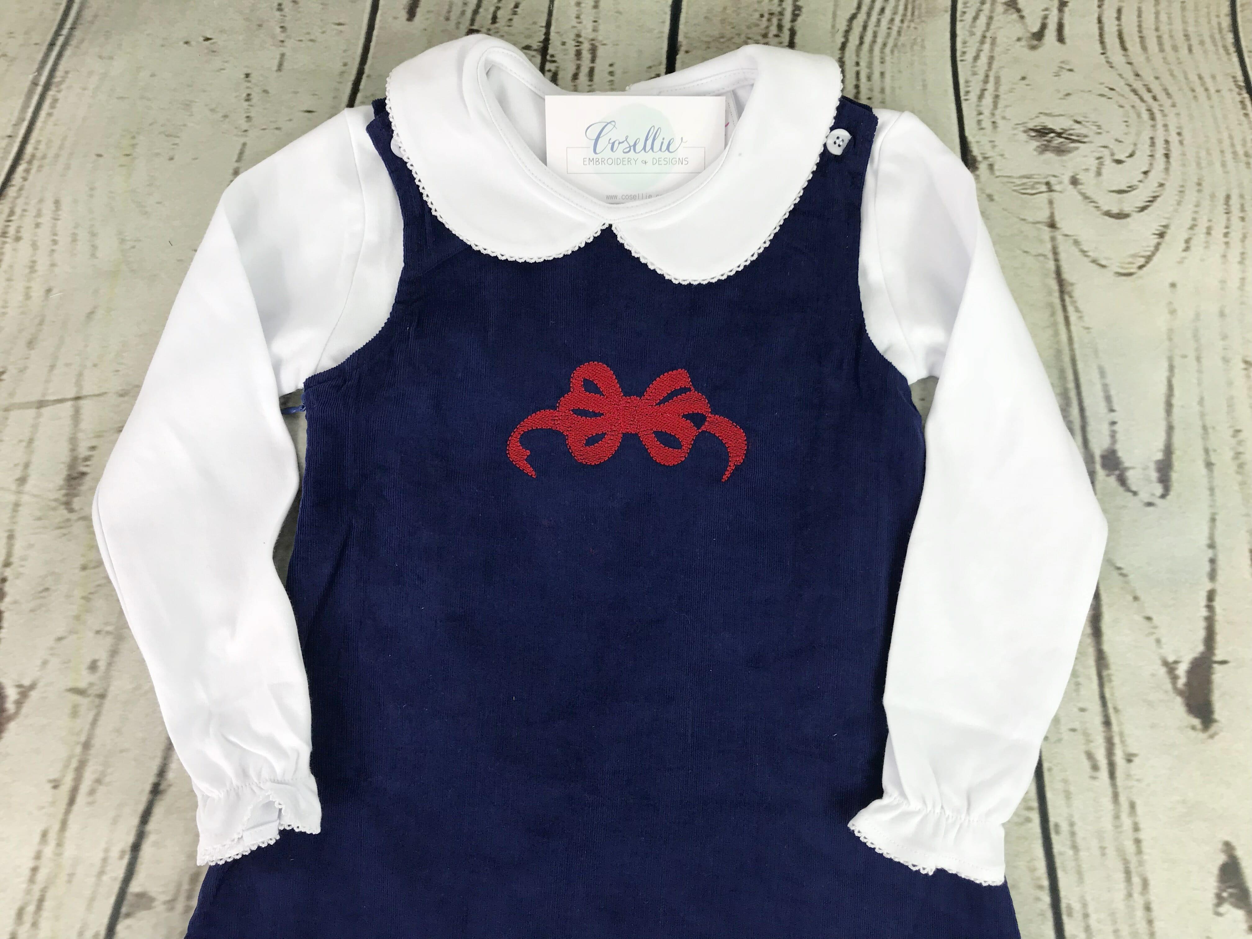 Girl s corduroy jumper Bow corduroy dress