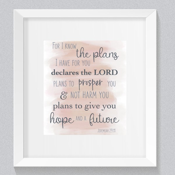 Jeremiah 29:11 Watercolor Bible Verse Pink, Jeremiah 29 11, Bible verse art, Watercolor bible verse art, Nursery bible verse art, Pink bible verse, Baby girl, Print from home cards, DIY cards