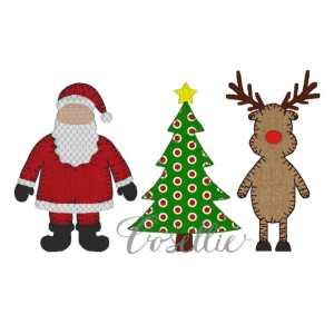Christmas trio embroidery design, Santa, Reindeer, Christmas tree, Vintage Christmas, Vintage stitch embroidery design, Applique, Machine embroidery design, Blanket stitch, Beanstitch, Vintage
