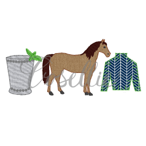 Horse derby applique embroidery design, Kentucky derby, Horse embroidery design, Mint julep, Jockey shirt, Horse racing, Vintage stitch embroidery design, Applique, Machine embroidery design, Blanket stitch, Beanstitch, Vintage
