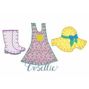Girl Garden Trio embroidery design, Girl spring embroidery design, Rainboots, Gardening hat, Overalls dress, Spring embroidery design, Vintage stitch embroidery design, Applique, Machine embroidery design, Blanket stitch, Beanstitch, Vintage