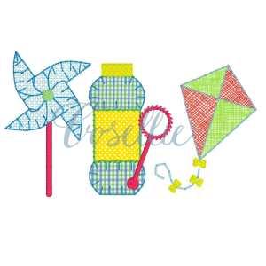 Pinwheel Trio embroidery design, Summer embroidery design, Pinwheel, Bubbles, Kite, Spring embroidery design, Vintage stitch embroidery design, Applique, Machine embroidery design, Blanket stitch, Beanstitch, Vintage