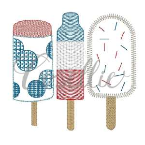Popsicles quick stitch embroidery design, Summer popsicles embroidery design, July 4th, Fourth of July, Memorial Day, Summer, Ice cream, Popsicle, Sweets, Vintage stitch embroidery design, Applique, Machine embroidery design, Blanket stitch, Beanstitch, Vintage