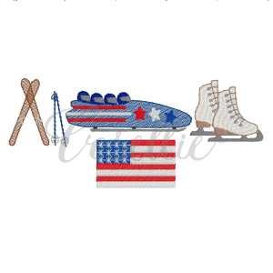 Winter Olympics embroidery design, Olympics, Team USA, Bobsled, Skis, Ice skates, Vintage stitch embroidery design, Applique, Machine embroidery design, Blanket stitch, Beanstitch, Vintage