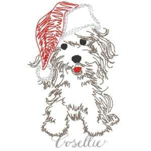 Santa puppy embroidery design, Vintage Christmas, Santa, Puppy, Dog, Winter, Vintage stitch embroidery design, Applique, Machine embroidery design, Blanket stitch, Beanstitch, Vintage