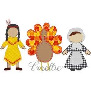 Thanksgiving girl embroidery design, Pilgrim, Indian, Turkey, Vintage stitch embroidery design, Applique, Machine embroidery design, Blanket stitch, Beanstitch, Vintage, Classic