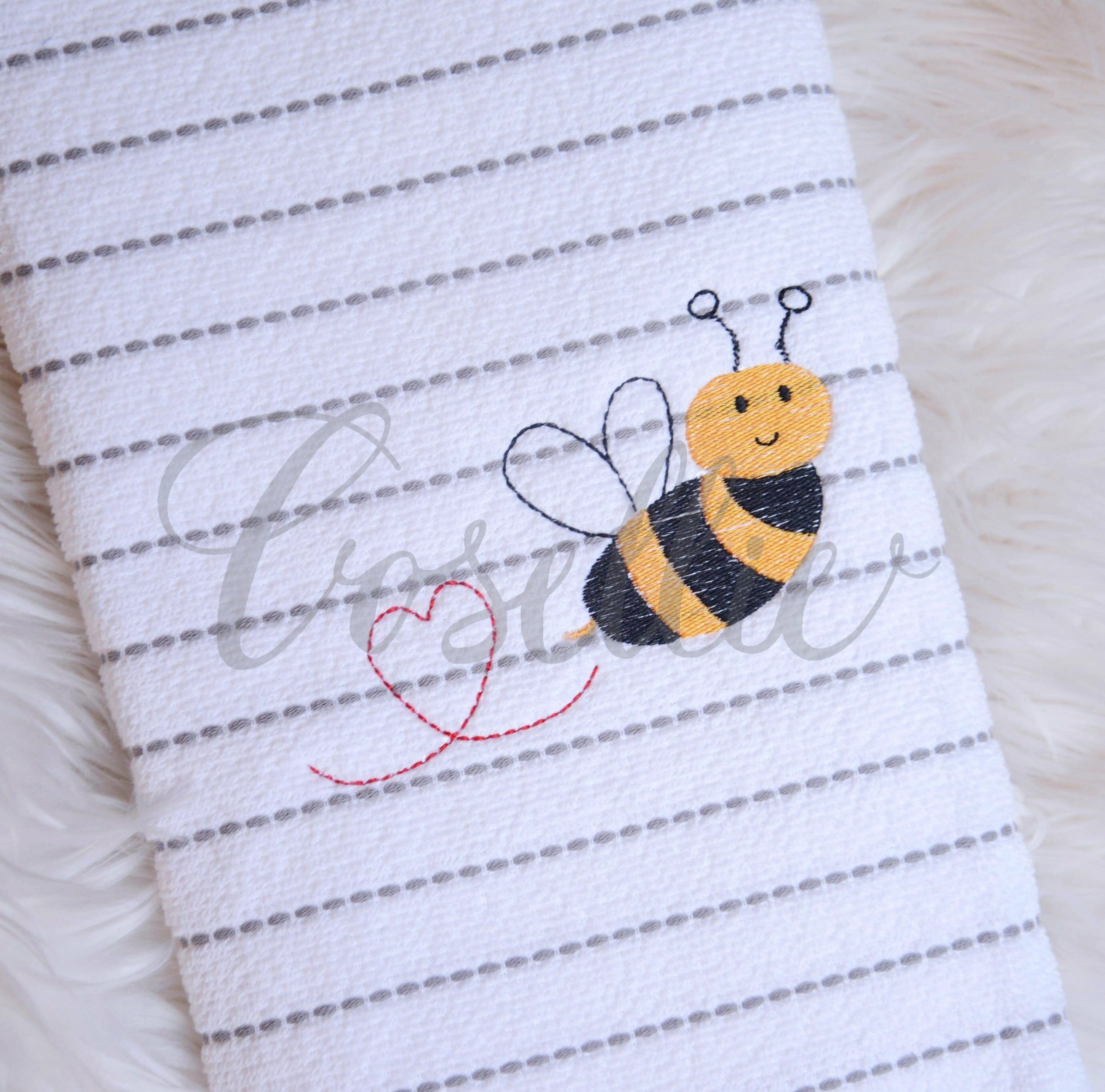 Valentines Bee Embroidery Design Machine Embroidery Cosellie