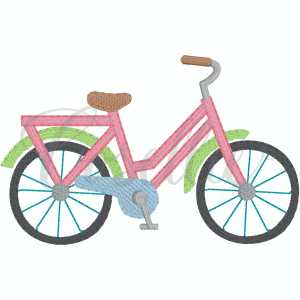 Girl bicycle embroidery design, Bicycle, Vintage bicycle, Girl bicycle, Bike, Beach bike, Summer, Vintage stitch embroidery design, Applique, Machine embroidery design, Blanket stitch, Beanstitch, Vintage, Classic