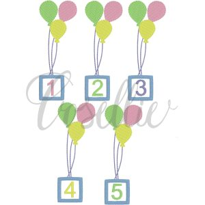 Birthday balloons fill embroidery design, One, Two, Three, Four, Five, First, Second, Third, Fourth, Fifth, Birthday party, First birthday, Vintage stitch embroidery design, Applique, Machine embroidery design, Blanket stitch, Beanstitch, Vintage