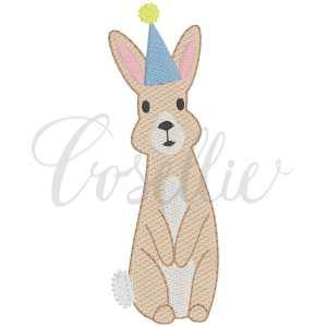 Birthday bunny fill embroidery design, Bunny, Rabbit, Bunny hat, Vintage bunny, Birthday party, First birthday, Vintage stitch embroidery design, Applique, Machine embroidery design, Blanket stitch, Beanstitch, Vintage