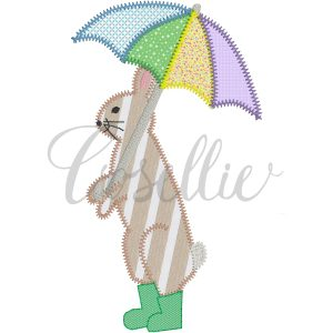 Bunny in boots embroidery design, Vintage bunny, Rabbit, Spring, Rainboots, Umbrella, Easter, Vintage stitch embroidery design, Applique, Machine embroidery design, Blanket stitch, Beanstitch, Vintage