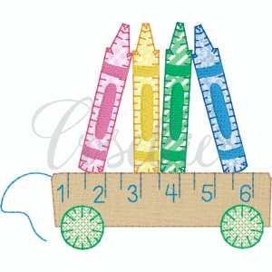 Crayons wagon embroidery design, Crayons applique, Vintage crayons, Ruler, Back to school, Vintage stitch embroidery design, Applique, Machine embroidery design, Blanket stitch, Beanstitch, Vintage