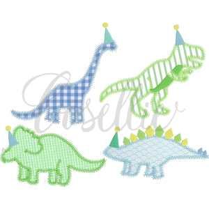 Birthday dinosaurs applique embroidery design, Birthday dinosaur, Birthday, Vintage dinosaurs, Boys, T-Rex, Stegosaurus, Brachiosaurus, Triceratops, Vintage stitch embroidery design, Applique, Machine embroidery design, Blanket stitch, Beanstitch, Vintage