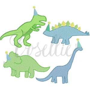 Birthday dinosaurs fill embroidery design, Birthday dinosaur, Birthday, Vintage dinosaurs, Boys, T-Rex, Stegosaurus, Brachiosaurus, Triceratops, Vintage stitch embroidery design, Applique, Machine embroidery design, Blanket stitch, Beanstitch, Vintage