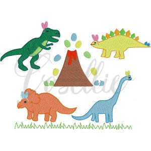 Easter dinosaurs embroidery design, Vintage dinosaurs, Dinosaurs with bunny ears, Easter eggs, T-Rex, Stegosaurus, Brachiosaurus, Triceratops, Easter, Vintage stitch embroidery design, Applique, Machine embroidery design, Blanket stitch, Beanstitch, Vintage